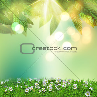 3D daisies in grass with overhanging leaves
