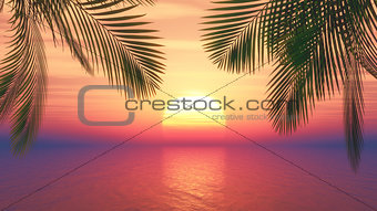 3D sunset ocean with palm tree fronds