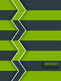 Green arrow brochure with white stripes