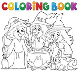Coloring book three witches theme 1