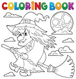 Coloring book witch on broom theme 1