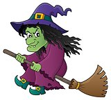 Witch on broom theme image 1