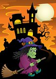 Witch on broom theme image 5
