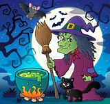Witch with cat and broom theme image 2