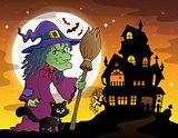 Witch with cat and broom theme image 3