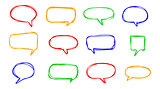 Hand-drawn vector speech bubbles sketchy doodle set