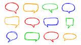 Hand-drawn vector speech bubbles sketchy doodle set