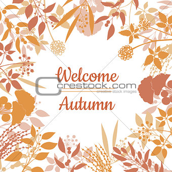 Flat design style Welcome Autumn card