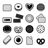 Biscuit, cookie - food vector icons set