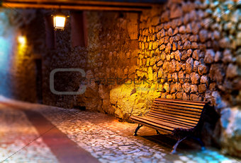 Cityscape.Bench and street