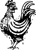 Woodcut Rooster Standing