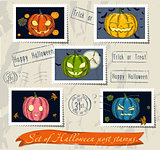 Vintage halloween post stamps set.