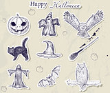 Set of Halloween stickers.