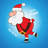 Cartoon Santa Claus skating greeting Christmas card design