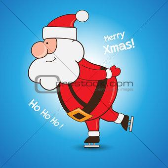 Cartoon Santa Claus skating greeting Christmas card design