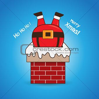 Cartoon Santa Claus in chimney