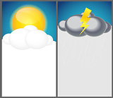 Weather Background with Sun, Cloud, Rain Vector Illustration