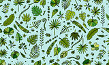 Tropical plants, seamless pattern