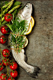 Raw rainbow trout with lemon, herbs and spice