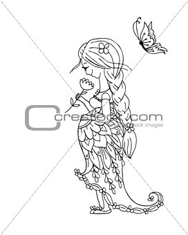 Beautiful pregnant woman with butterfly, sketch for your design