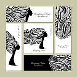 Business cards design, female floral portrait