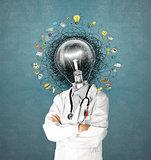 lamp head doctor man have got an idea