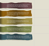 Four consecutive torn paper with lots of room for text and descriptions.