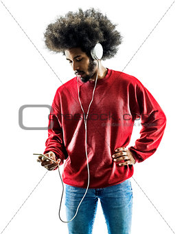 african man listening music silhouette isolated