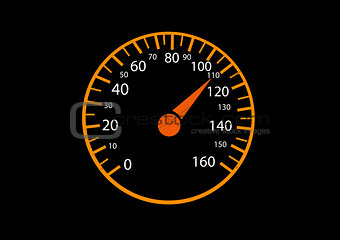 Car speedometers on black background