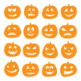 Set of 16 halloween pumpkins