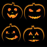 Set of 4 halloween pumpkins