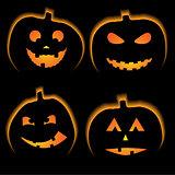 Set of 4 halloween pumpkins