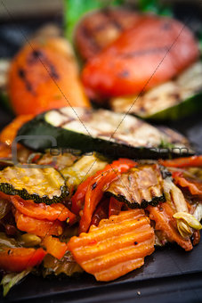 Grilled vegetables, baked in coal oven