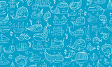 Whales and ships, seamless pattern for your design