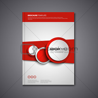 Brochures book or flyer with abstract round red design elements