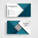 Business card with abstract blue triangles template