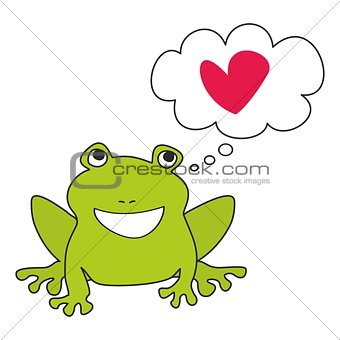 Green frog dreaming about love vector illustration isolated on white