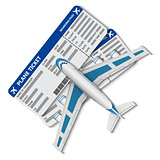 illustration of flight tickets with airplane