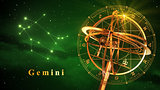 Armillary Sphere And Constellation Gemini Over Green Background