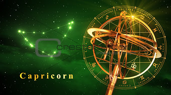 Armillary Sphere And Constellation Capricarn Over Green Background