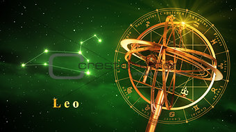Armillary Sphere And Constellation Leo Over Green Background