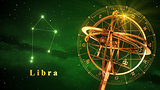 Armillary Sphere And Constellation Libra Over Green Background