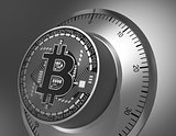 Concept Of Bitcoin Like A Safe Lock