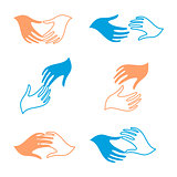 Isolated abstract human hands vector logo set. Touching fingers logotypes.
