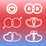 Isolated outlined hearts and rings vector logo set.Wedding elements.