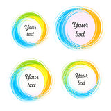 Design elements for the background. Color circular stickers with the text.