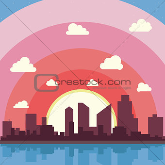 City on a background sunset. Silhuette of town