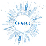 Outline Europe skyline silhouette with blue landmarks and copy s