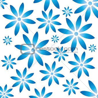 Floral pattern with Gzhel flowers.