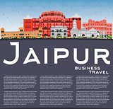 Jaipur Skyline with Color Landmarks, Blue Sky and Copy Space.